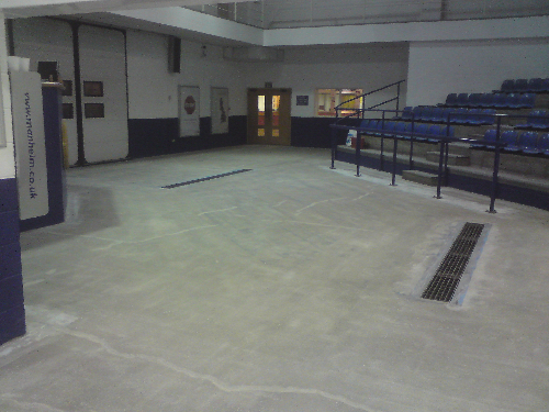Prepared concrete base prior to installation of coating