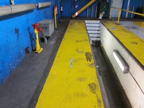Oil contaminated floor at HGV garage County Durham