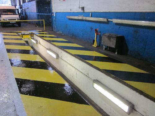 Floor painting at HGV garage Esh Winning County Durham