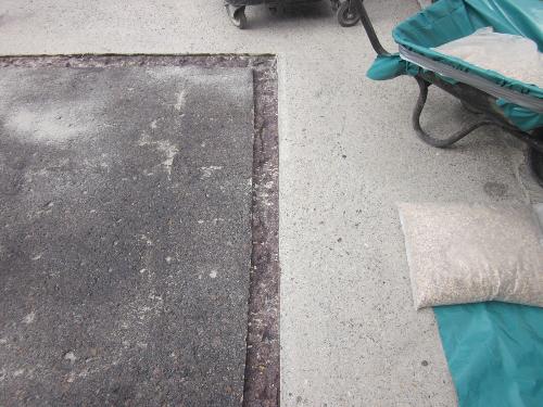 Termination channel cut into perimiter of concrete area