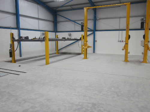 Prepared concrete substrate at Redcar garage