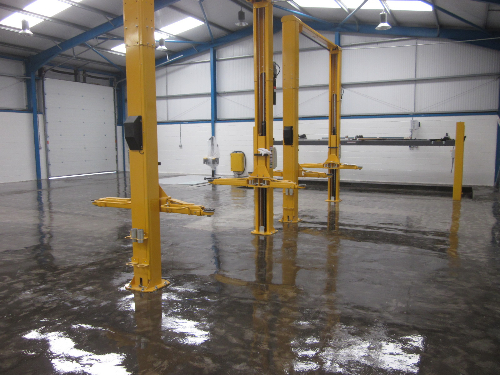 Primed floor surface at Redcar High Performance Garage