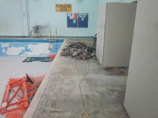 Removal of defective rubber flooring surface
